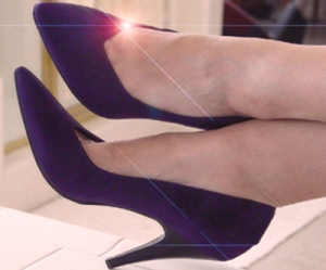 Purple suede stilettos