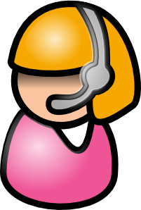 female figure on headset